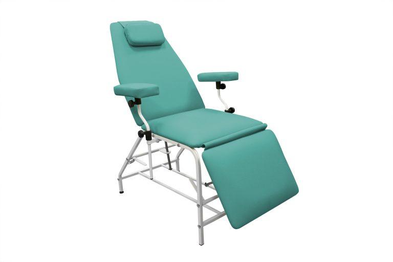 Кресло донора  ДР 04  для забора крови в процедурный кабинет ИНВИТРО с широкими подлокотниками - цвет Бирюза зеленый