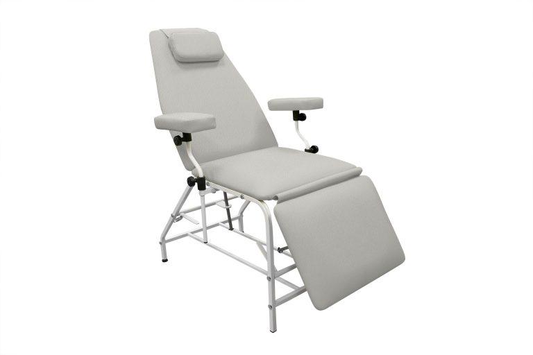 Кресло донора  ДР 04  для забора крови в процедурный кабинет ДНКОМ с широкими подлокотниками - цвет Светло-серый